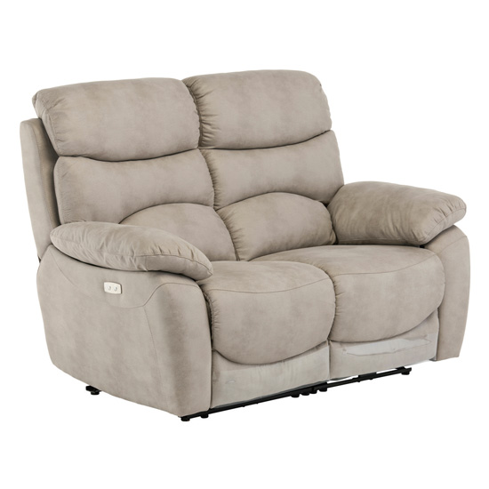 Layla Fabric Electric Recliner 2 Seater Sofa In Natural