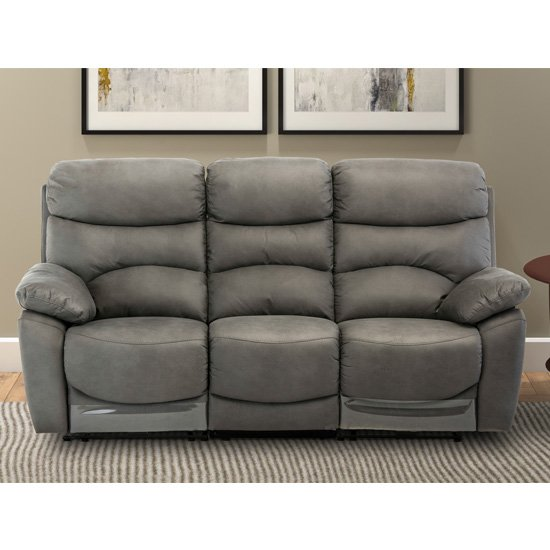Layla Fabric Electric Recliner 3 Seater Sofa In Grey