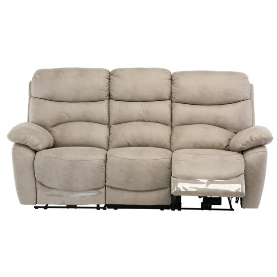 Layla Fabric Electric Recliner 3 Seater Sofa In Natural