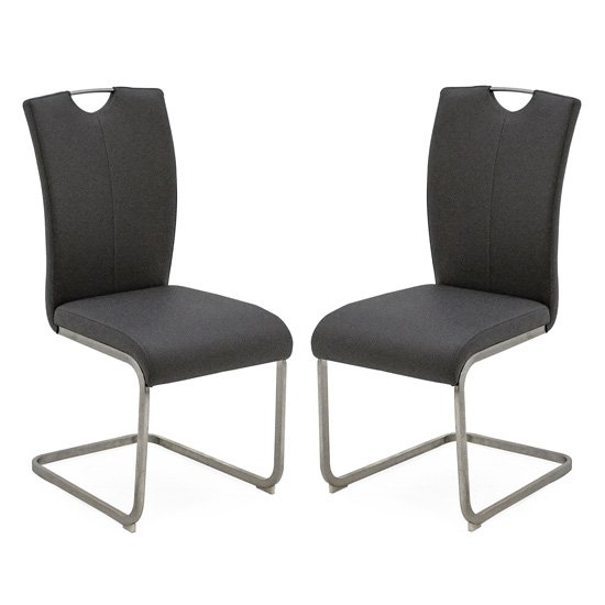 Lazzaro Grey Faux Leather Dining Chairs In Pair