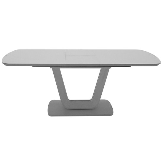 View Lazzaro large high gloss extending dining table in light grey