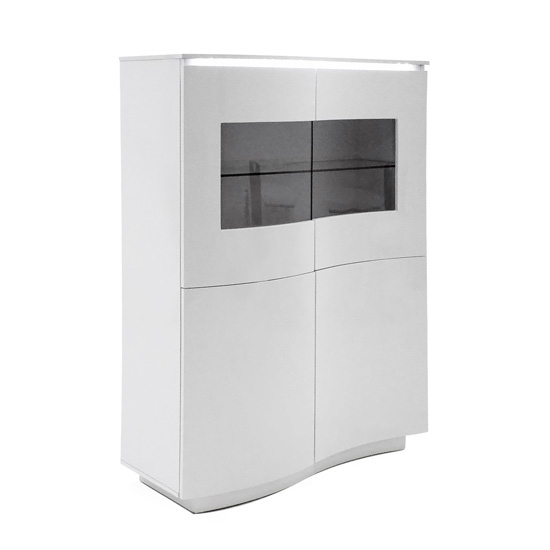 View Lazzaro led high gloss display unit in white with glass top