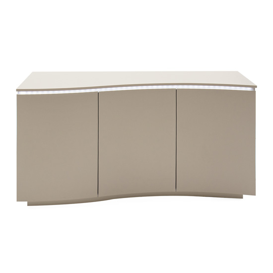 Lazzaro LED Wooden Sideboard In Matt Cappuccino With 3 Doors