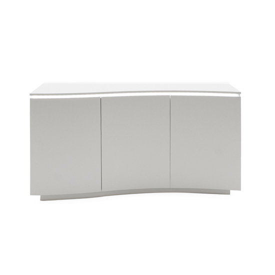 Lazzaro LED Wooden Sideboard In Matt Light Grey With 3 Doors