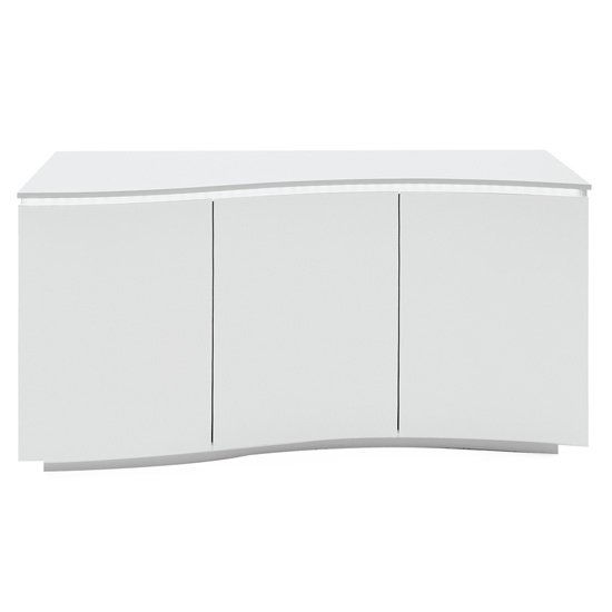 Lazzaro LED High Gloss Wooden Sideboard In White With Glass Top