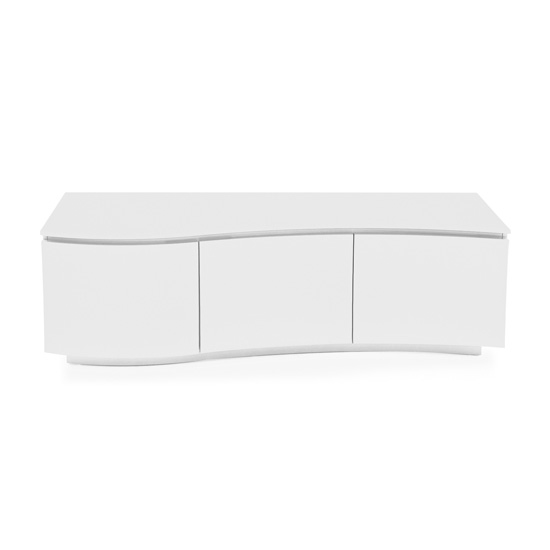Lazzaro LED High Gloss Wooden TV Stand In White With Glass Top