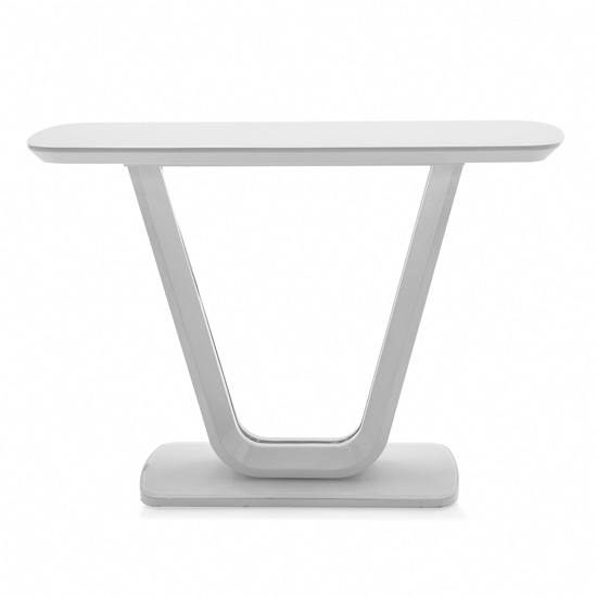 Lazzaro High Gloss Console Table In White With Glass Top