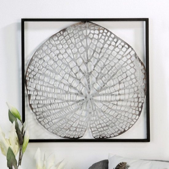 Leaf Metal Wall Art In Silver With Antique Dark Brown Frame_1