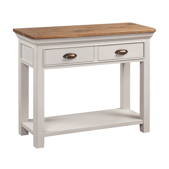 Leanne Console Table In Stone Washed White With Two Drawers_1