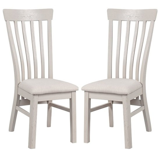 Leanne Wooden Dining Chairs In Stone Washed White In A Pair