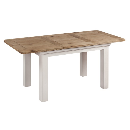 Leanne Large Extending Dining Table In Stone Washed White Finish