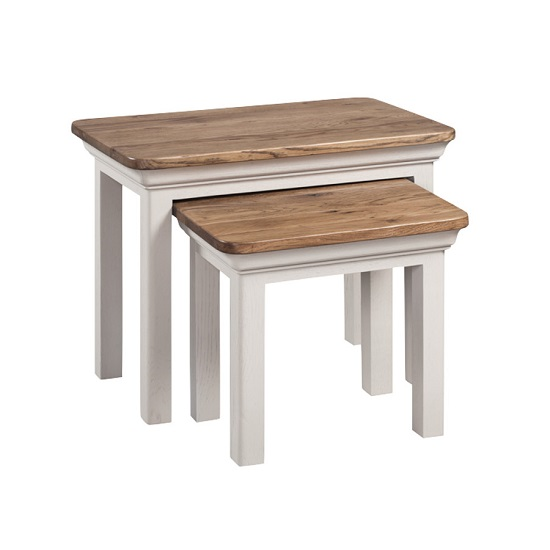 Leanne Nest Of Table In Stone Washed White Finish