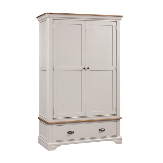 Leanne Wardrobe In Stone Washed White With Two Doors