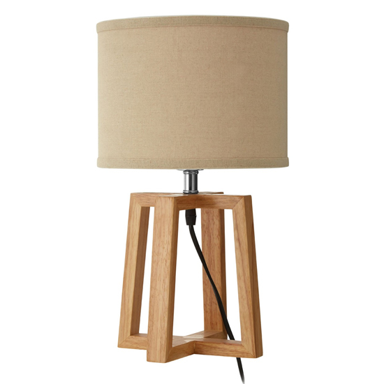 Leap Light Brown Fabric Shade Table Lamp With Natural Base