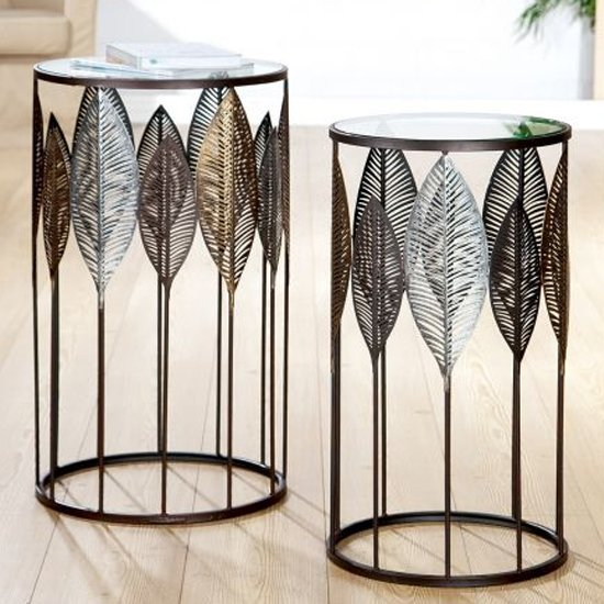 View Leaves clear glass top set of 2 side tables with metal frame