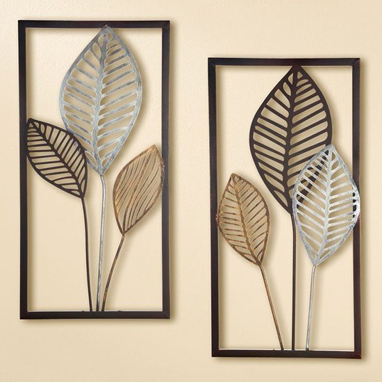 Leaves Metal Set Of 2 Wall Art In Brown And Gold Silver