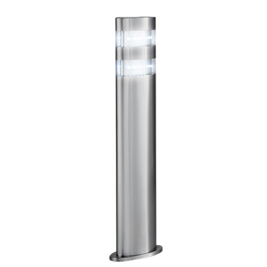 LED Outdoor Post Light In Satin Silver With Clear Diffuser