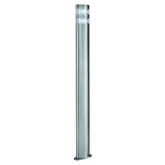 LED Outdoor Tall Post Light In Satin Silver With Clear Diffuser