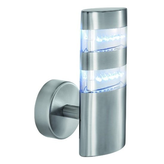 LED Outdoor Wall Light In Satin Silver With Clear Diffuser