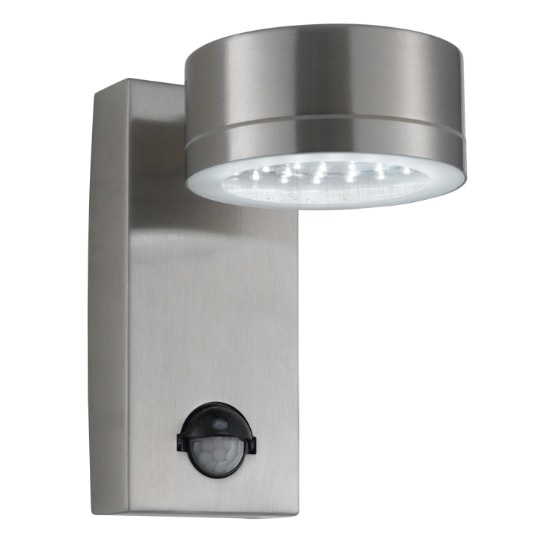 LED Outdoor Wall Light In Stainless Steel With Motion Sensor