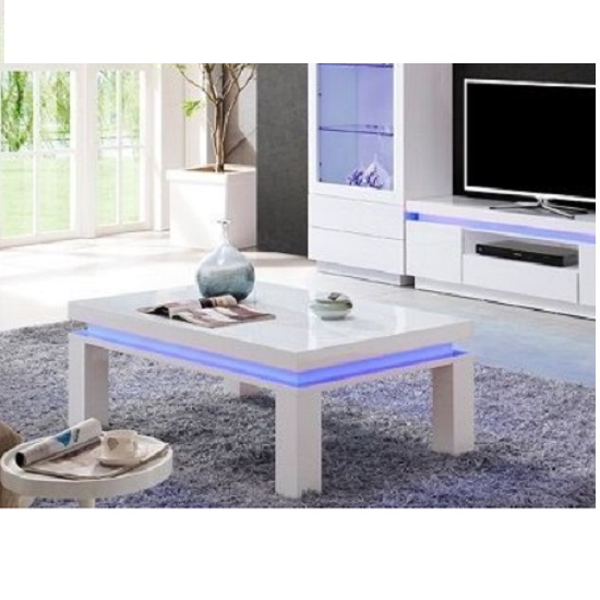 ledia white coffee table with led - 7 Benefits Of A Coffee Table With LED Lights