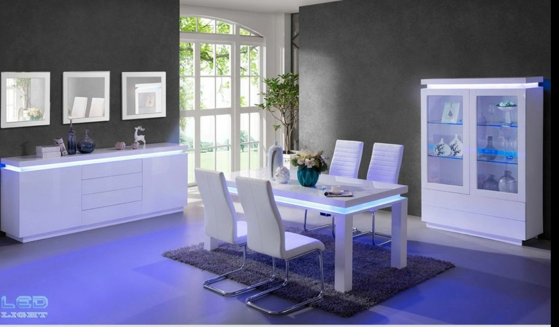 Lenovo Dining Table In White High Gloss With Led Lights
