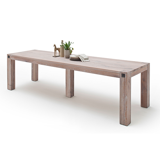 Leeds Extra Large Wooden Dining Table In Whitewashed Oak