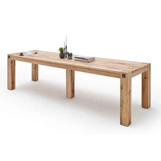 Product photograph showing Leeds Large Wooden Dining Table In Wild Oak
