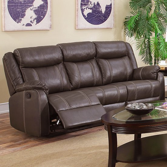 View Leeds leatherlux and pu recliner 3 seater sofa in espresso
