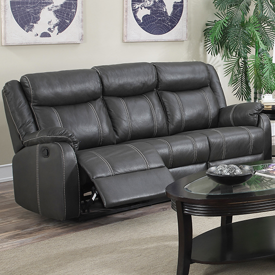 Leeds LeatherLux And PU Recliner 3 Seater Sofa In Gun Metal