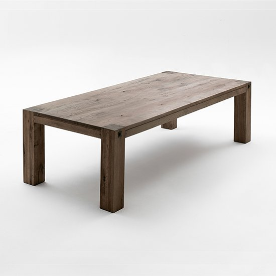 Leeds Medium Wooden Dining Table In Oak Weathered
