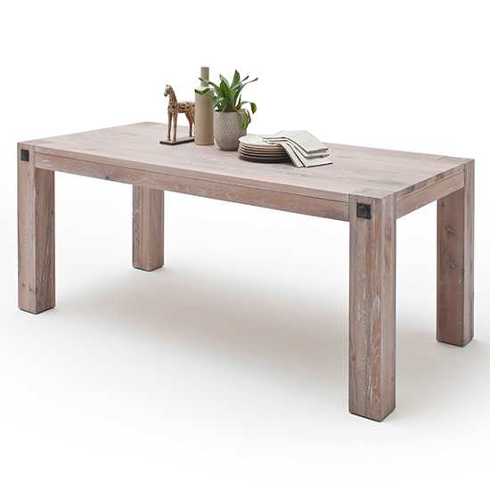 Leeds Small Wooden Dining Table In Whitewashed Oak