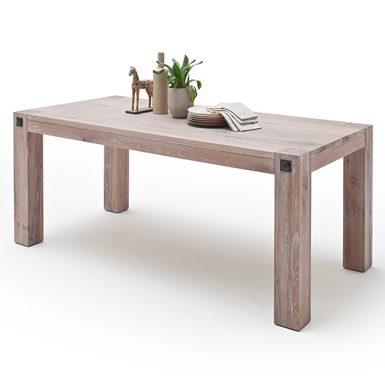Leeds Wooden Dining Table In Whitewashed Oak