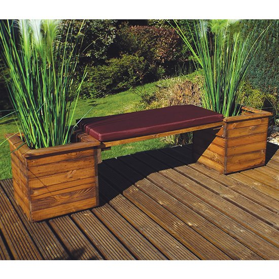 Leety 2 Square Planter Bench With Burgundy Cushion