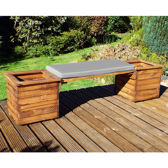 Leety 2 Square Planter Bench With Grey Cushion