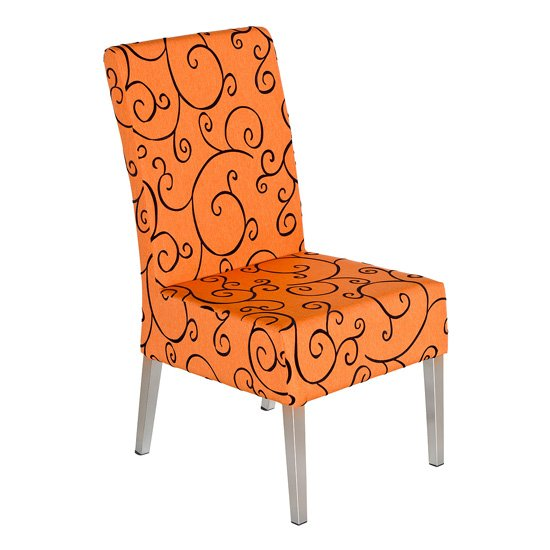 Leia Fabric Upholstered Dining Chair In Orange