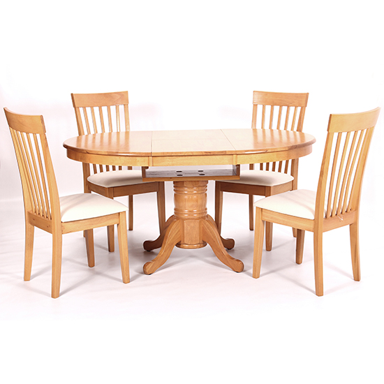 Leicester Wooden Dining Set In Light Oak With 4 Chairs