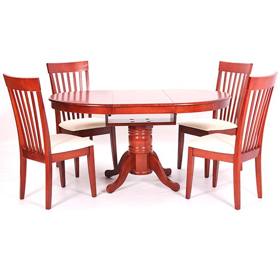 Leicester Wooden Dining Set In Mahogany With 4 Chairs_1