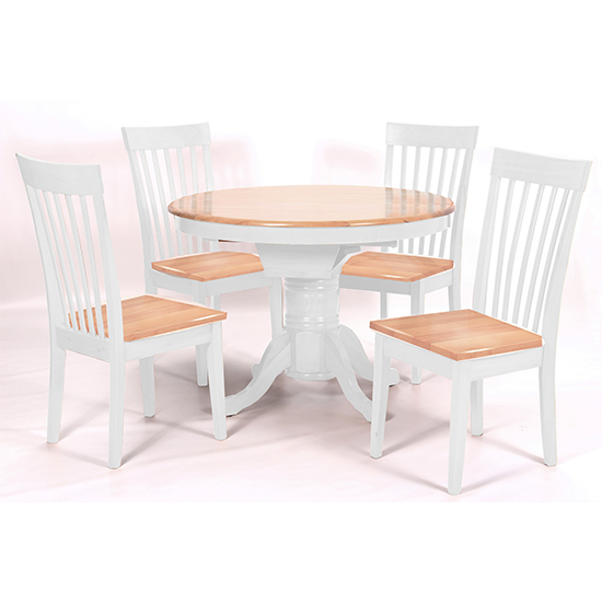 Leicester Wooden Dining Set In White With 4 Light Oak Chairs