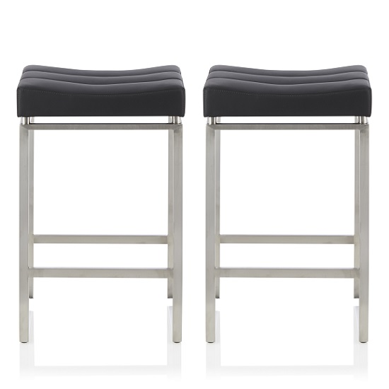 Leighton Bar Stool In Black Faux Leather In A Pair