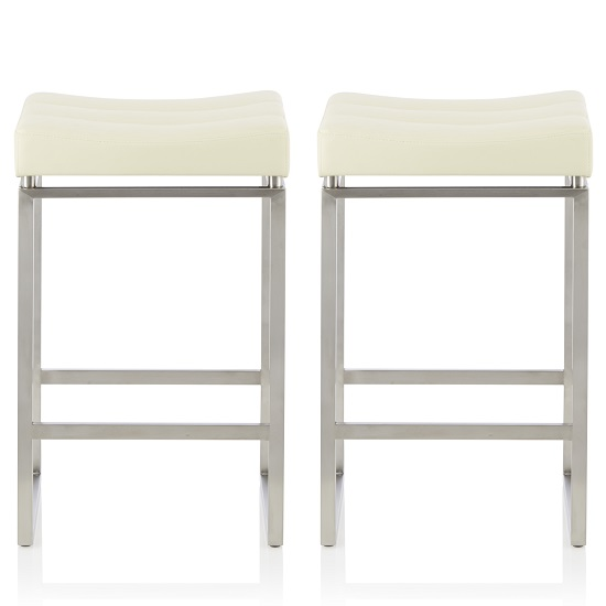 Leighton Bar Stool In Cream Faux Leather In A Pair