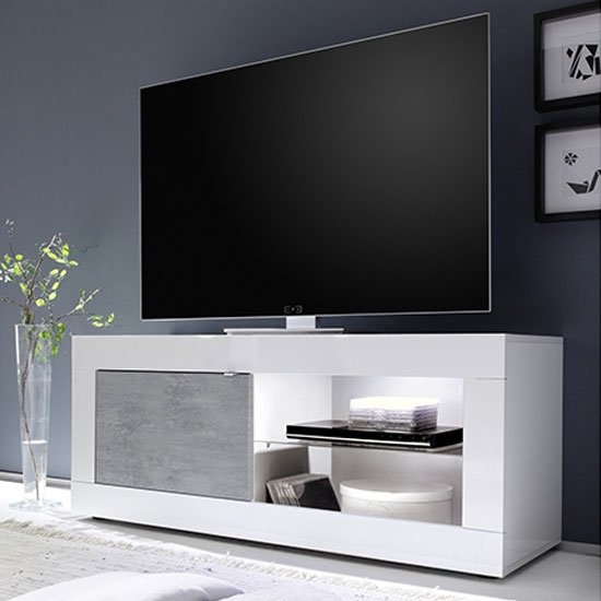 Taylor 1 Door TV Stand In White High Gloss And Cement Effect