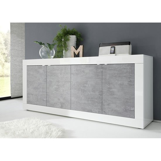 Taylor 4 Doors Sideboard In White High Gloss And Cement Effect