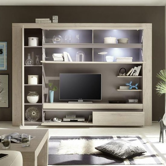 Leilani Large Entertainment Unit In Beige Oak With LED_2