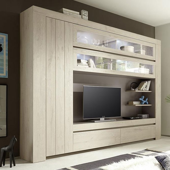View Leilani large entertainment unit in beige oak with led
