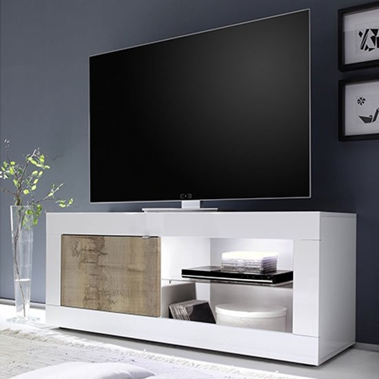 Taylor Wooden 1 Door TV Stand In White High Gloss And Pero