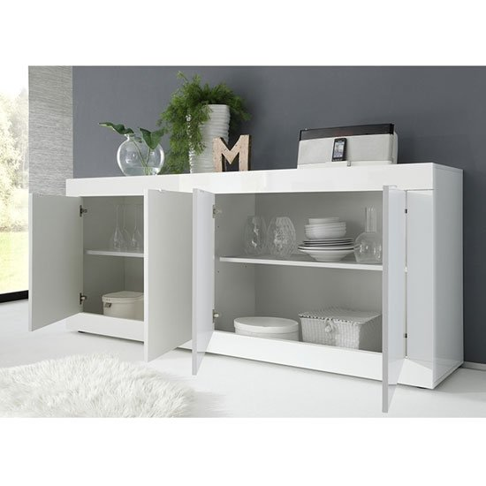 Taylor Wooden 4 Doors Sideboard In White High Gloss_2