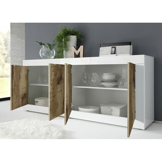 Taylor Wooden 4 Doors Sideboard In White High Gloss And Pero_2