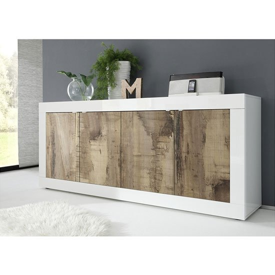 Taylor Wooden 4 Doors Sideboard In White High Gloss And Pero_1