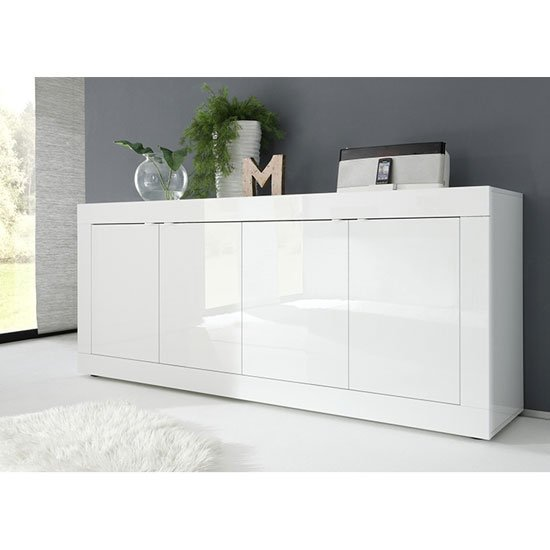 Taylor Wooden 4 Doors Sideboard In White High Gloss_1